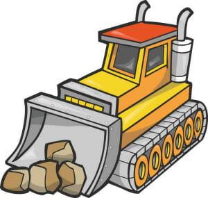 Yellow Bulldozer Moving Boulders Clipart Illustration